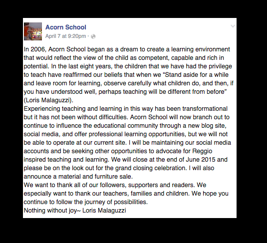 Acorn School Announcement