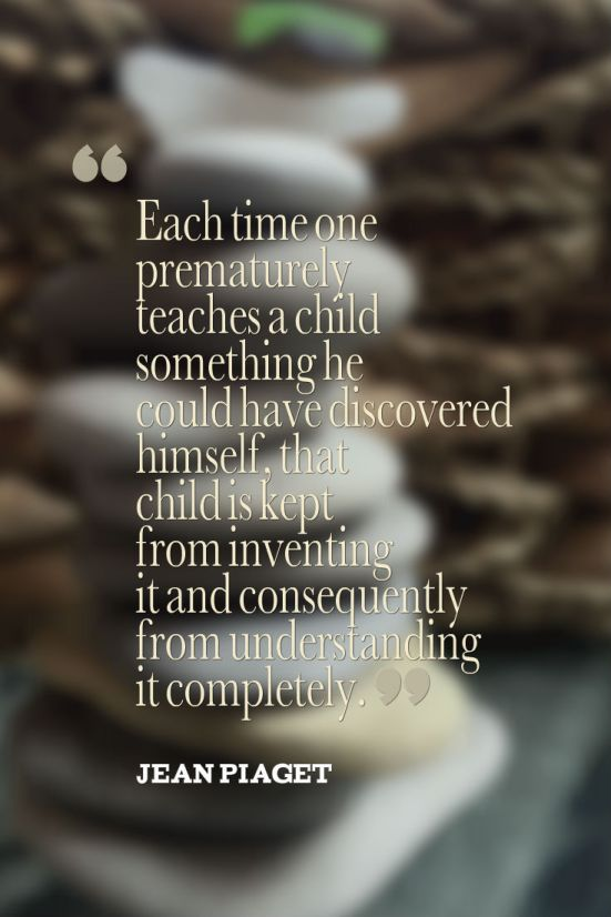 piaget quote with rocks