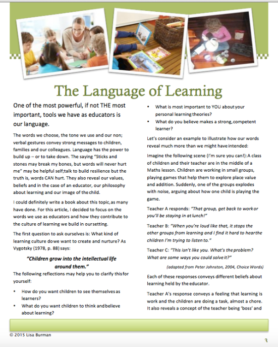 The Language of Learning - Lisa Burman